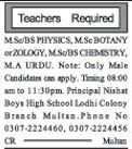Teaching Staff Required For Private School