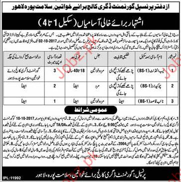 Government Degree College For Women Required Clerical Staff