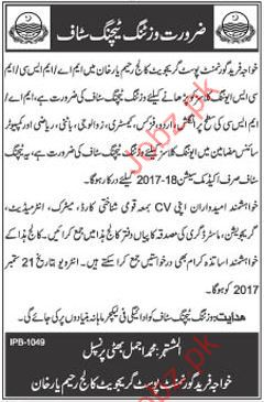 Government Post Graduate College Required Visiting Teachers