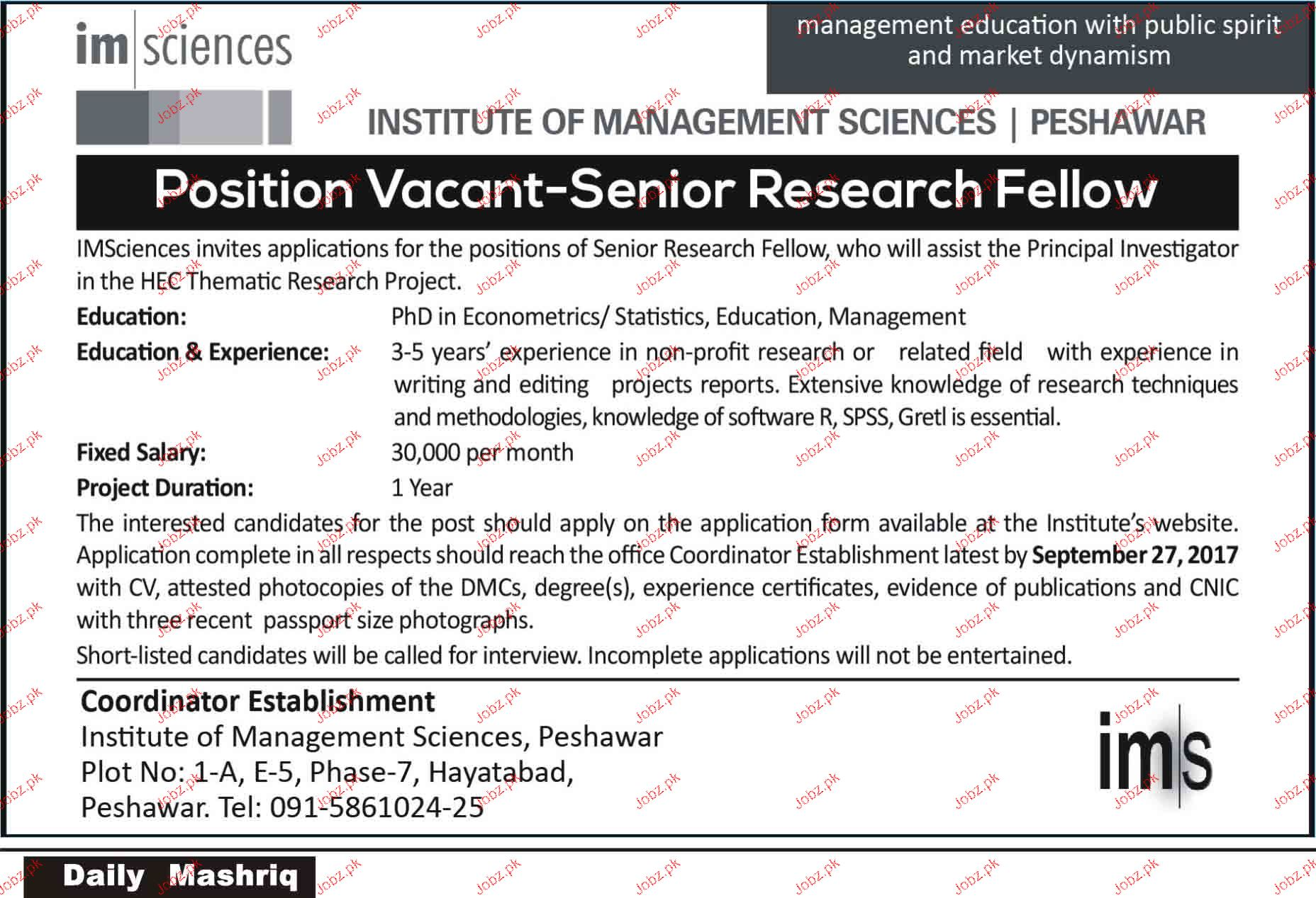 Senior Research Fellow Job Opportunity