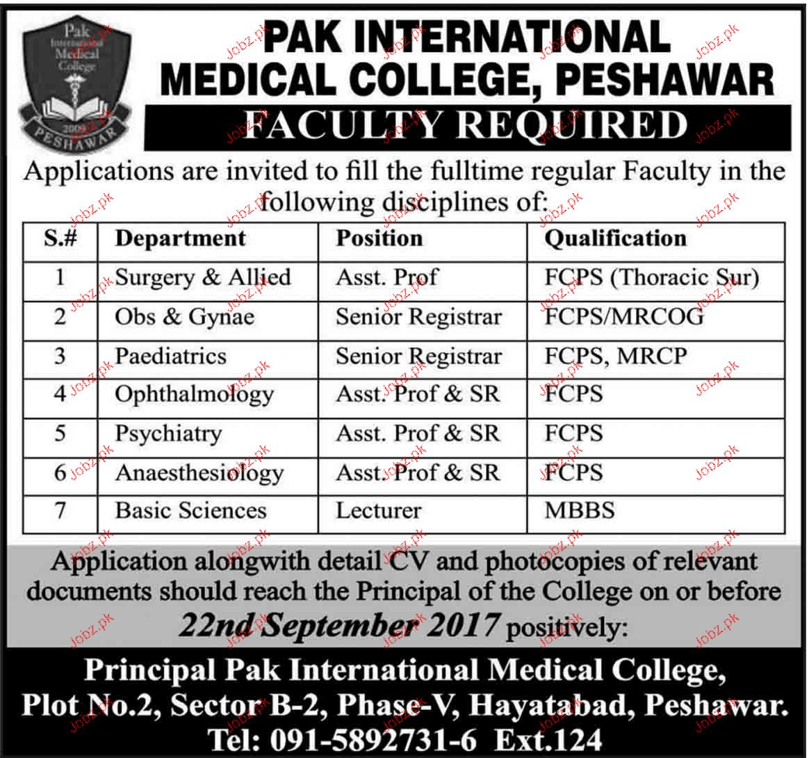 Assistant Professors, Senior Registrar  Job Opportunity