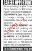 Accountant, Female Assistants Job Opportunity