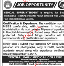 Medical Superintendent Job Opportunity