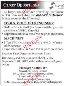 Toools, MOld, Dies Engineers and Machinists Wanted