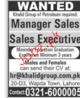 Manager Sales and Sales Executives Job Opportunity
