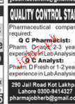 Quality Control Pharmacists Job Opportunity