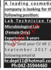 Lab Technicians Job Opportunity