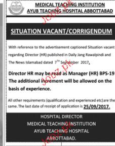 Ayub Teaching Hospital Abbottabad Jobs
