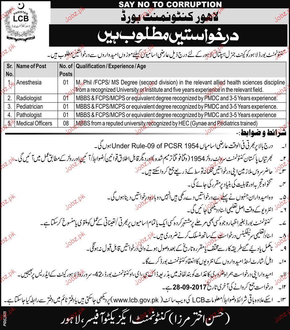 Cantonment Board Lahore Job