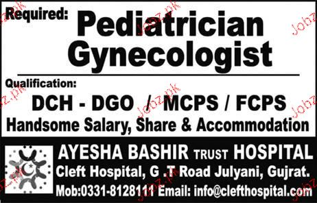 Pediatrician Gynecologists Job Opportunity