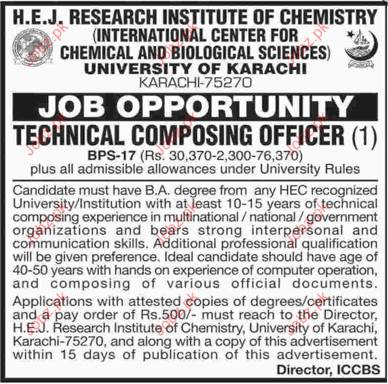 HEJ Research Institute of Chemistry Job Opportunities