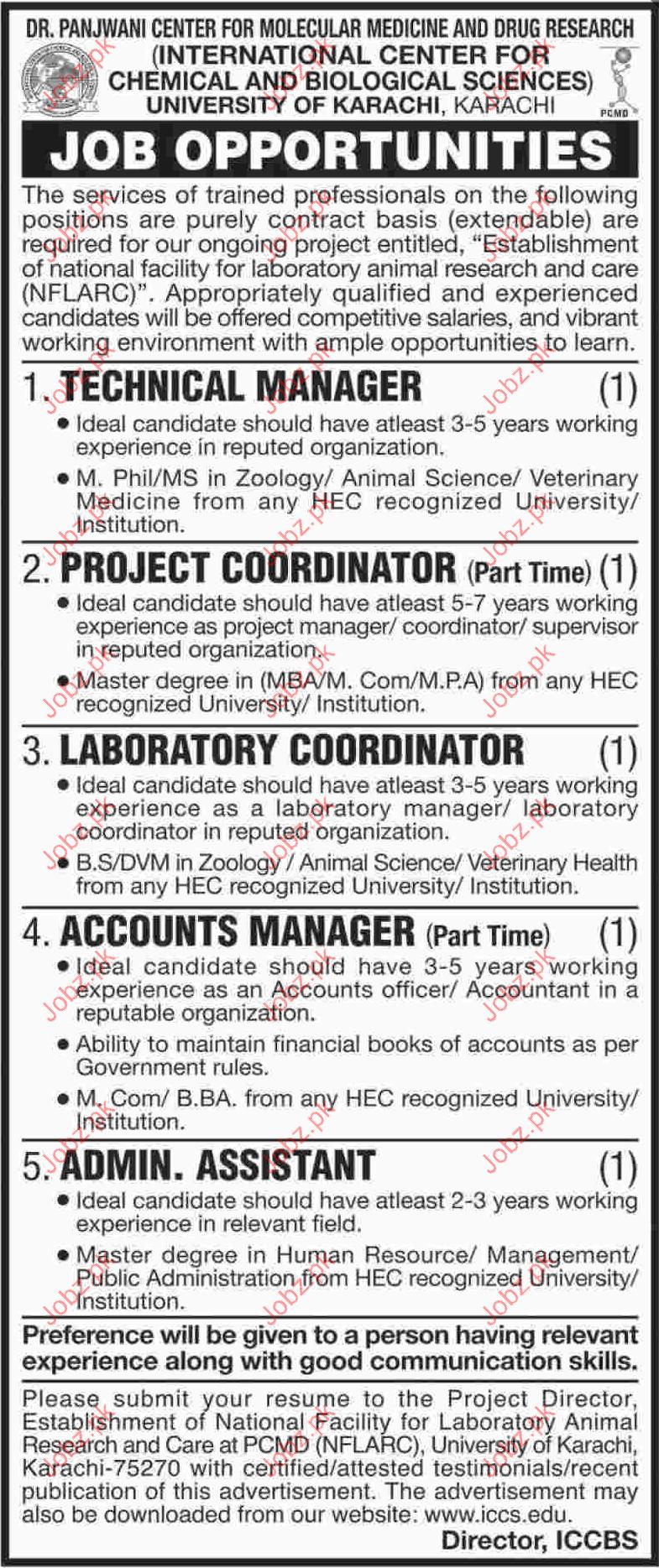 Dr Panjwani Center for Molecular Medicine Drug Research Jobs