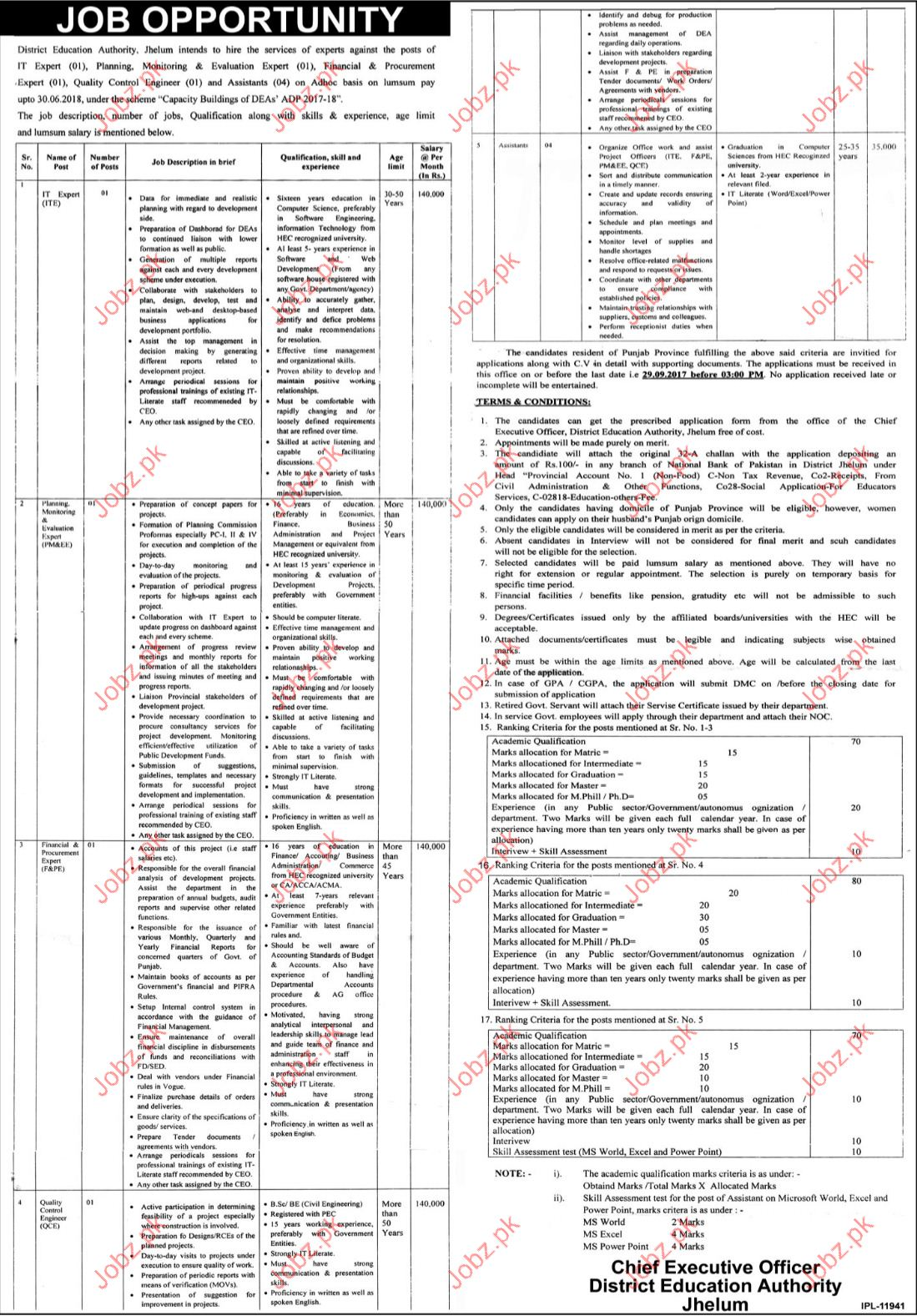 IT Expert Required For District Education Department