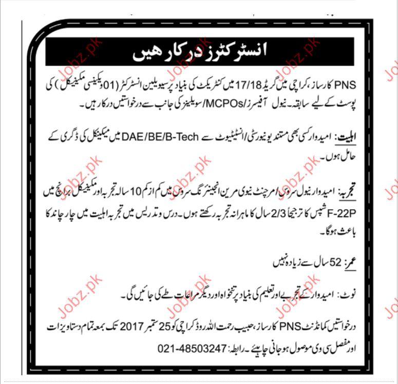 PNS Karsaaz Required Civiian Instructors