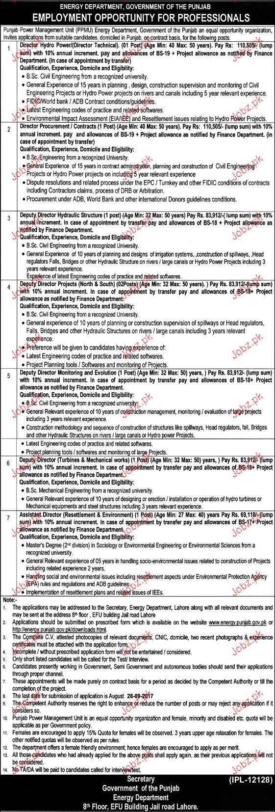 Energy Department Government of Punjab Jobs