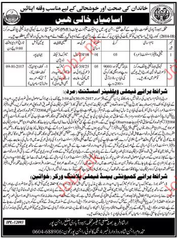 Family Welfare Assistant Jobs Welfare Population Department