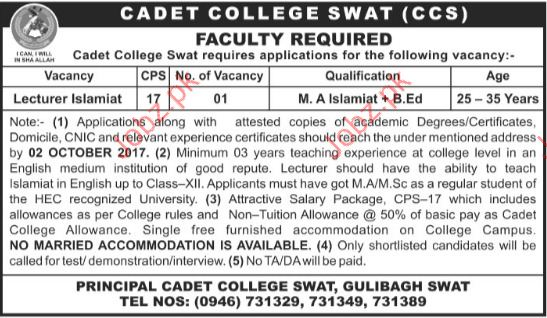 Cadet College Swat Required Lecturers