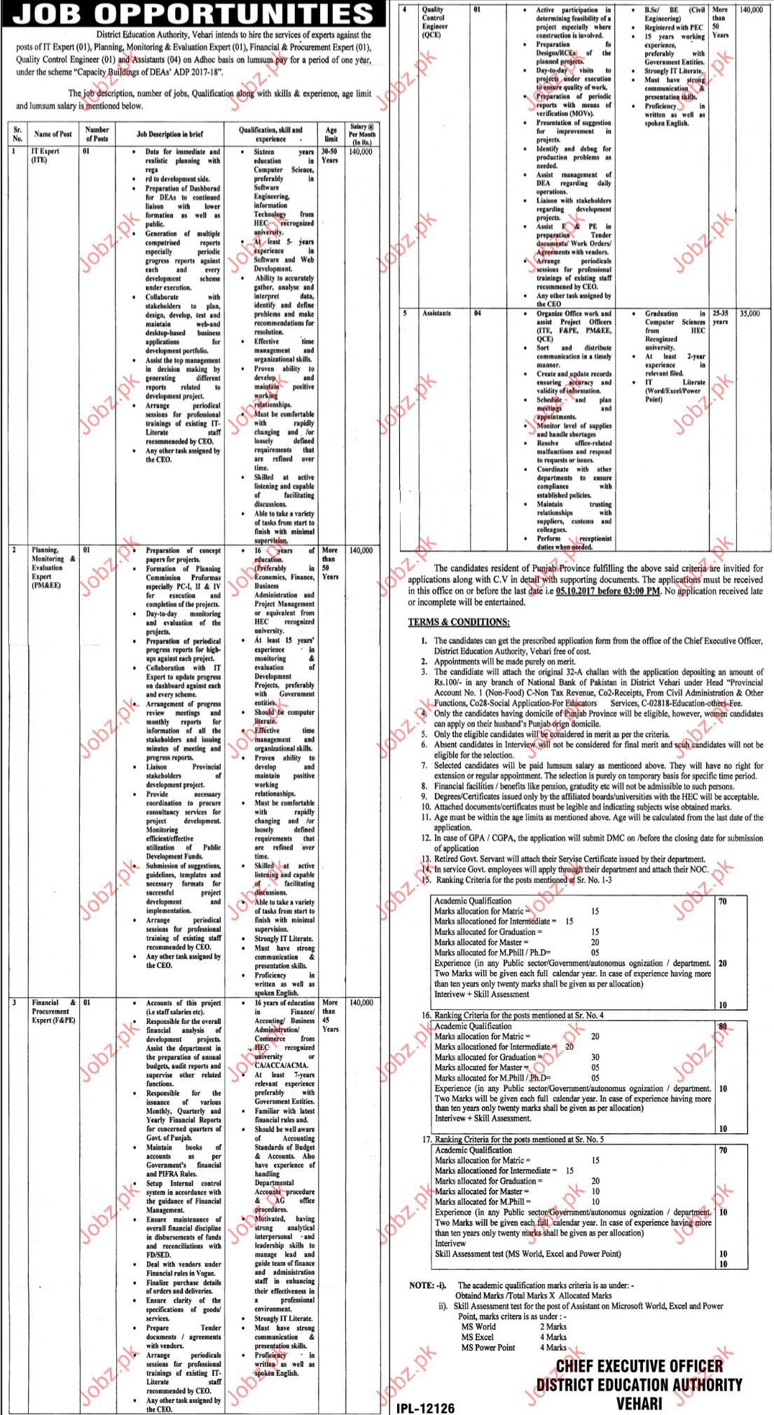 District Education Authority Required Planning Evaluation