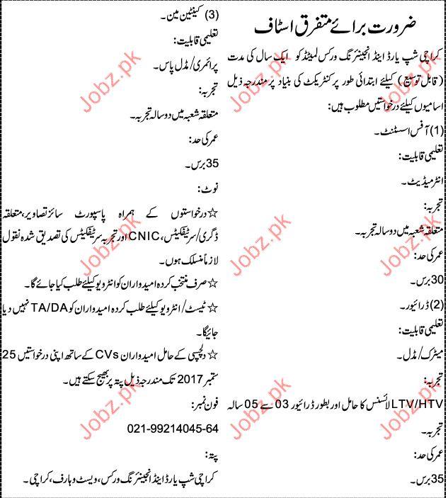 Karachi Shipyard & Engineering Works Required Clerical Staff