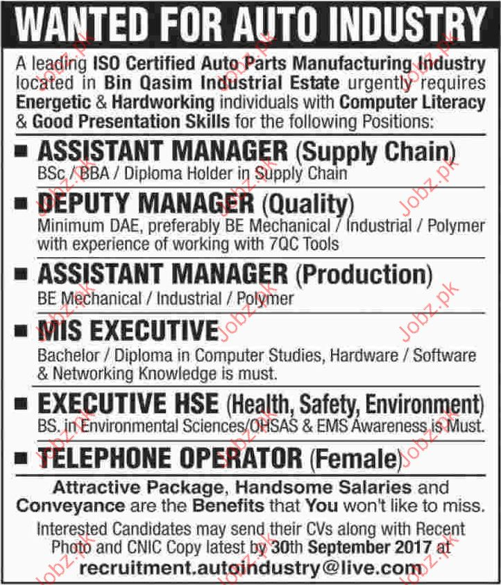 Auto Industry Jobs Opportunity