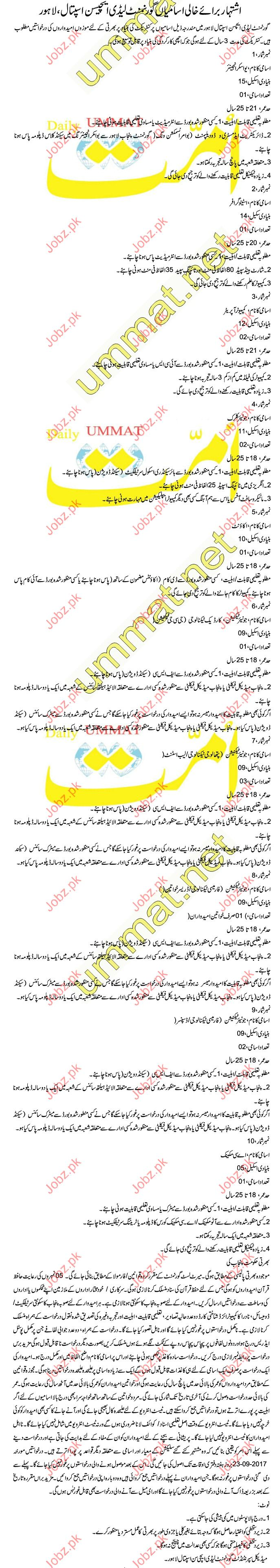 Admin Clerical Jobs In Government Lady Aitchison Hospital