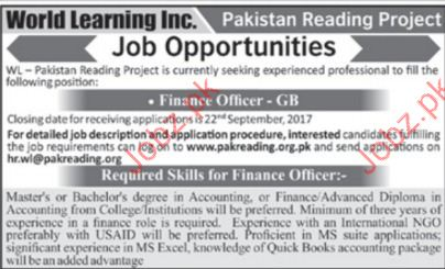 Pakistan Reading Project Required Finance Officer