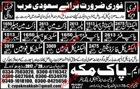 Electricians, Pipe Fitters, Mechanical Helpers Wanted