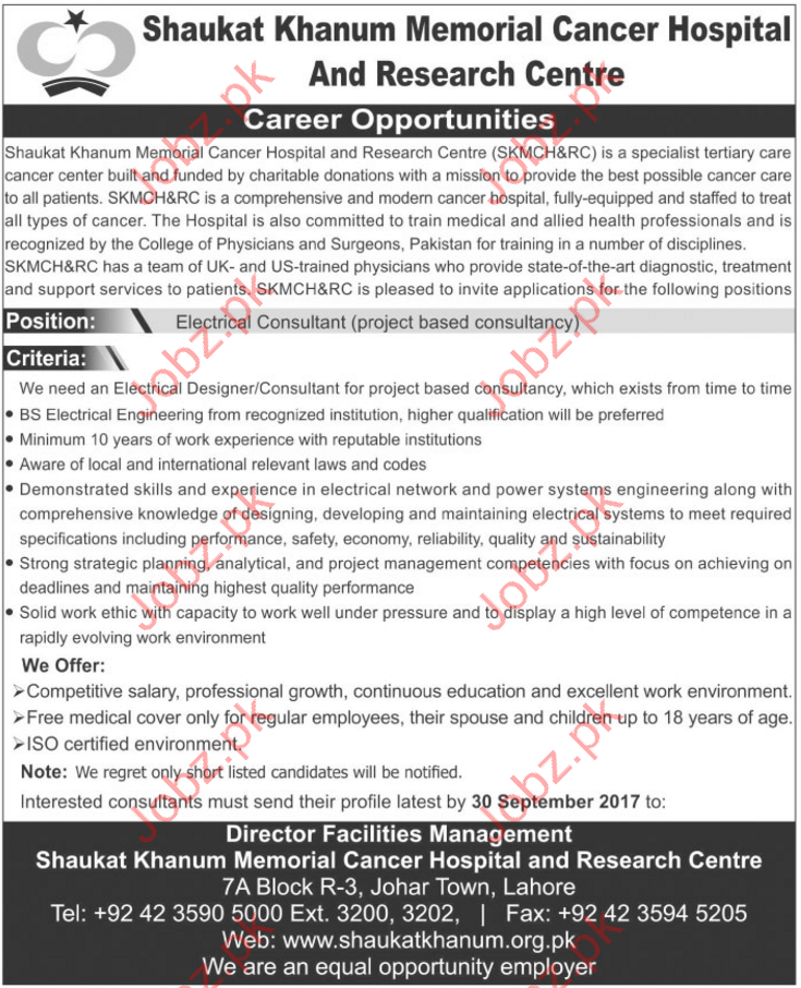 Shaukat Khanum Hospital Staff Required
