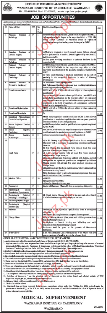 Institute of Cardiology Staff Required