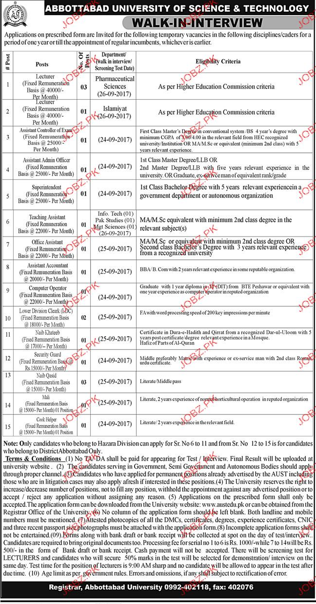 Abbottabad University of Science & Technology AUST Jobs