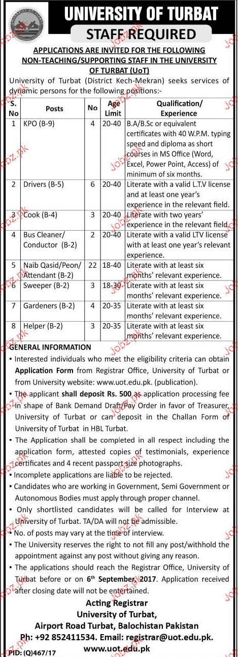 University of Turbat Jobs