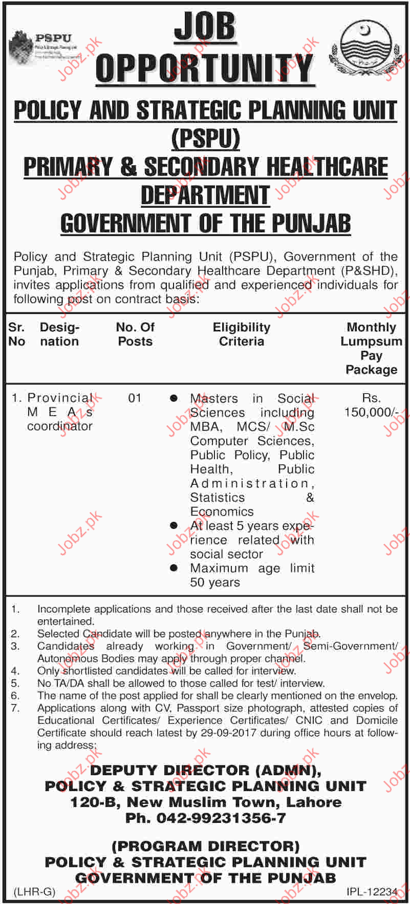 CoordinatorJobs In Primary & Secondary HealthCare Department