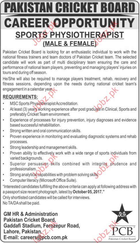 Sports Physiotherapist Jobs In Pakistan Cricket Board PCB