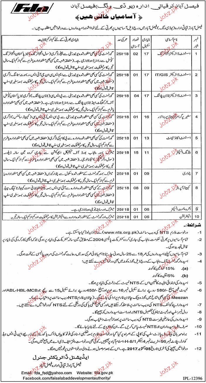 Faisalabad Development Institute UD Wing NTS Jobs
