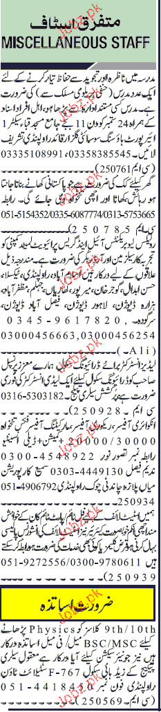 Salesmen, Order Bookers, Principal, Instructors Wanted