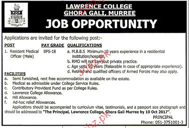 Lawerance College Ghora Gali  Jobs
