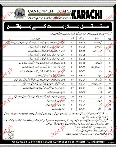Cantonment Board Karachi Job 2017