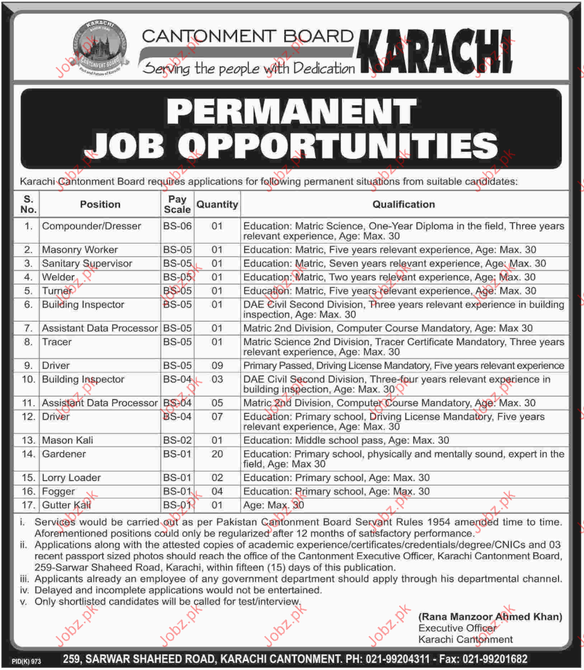 Clerical Staff Required for Karachi Cantonment Board