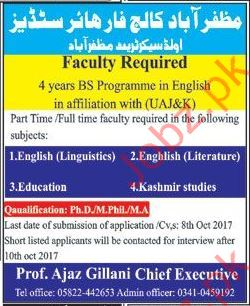 Faculty Required For College In Muzaffarabad, AJK