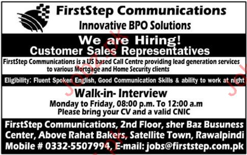 FirstStep Communications Jobs Opportunity