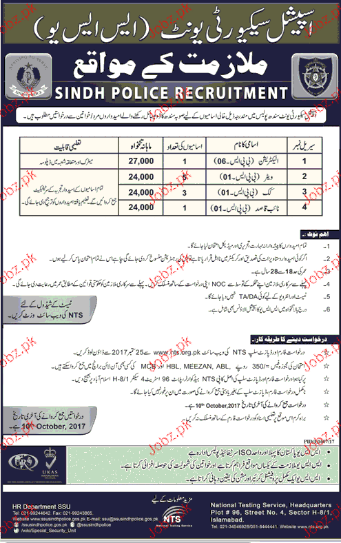 ssu sindh police jobs 2017 2019 job advertisement pakistan