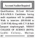 Auditor/Accountant Wanted For College In Multan