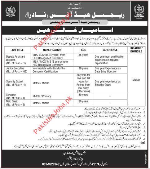nadra jobs 2017 in multan pakistan 2019 job advertisement