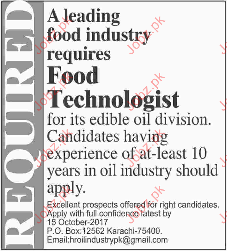 Food Technologist Job