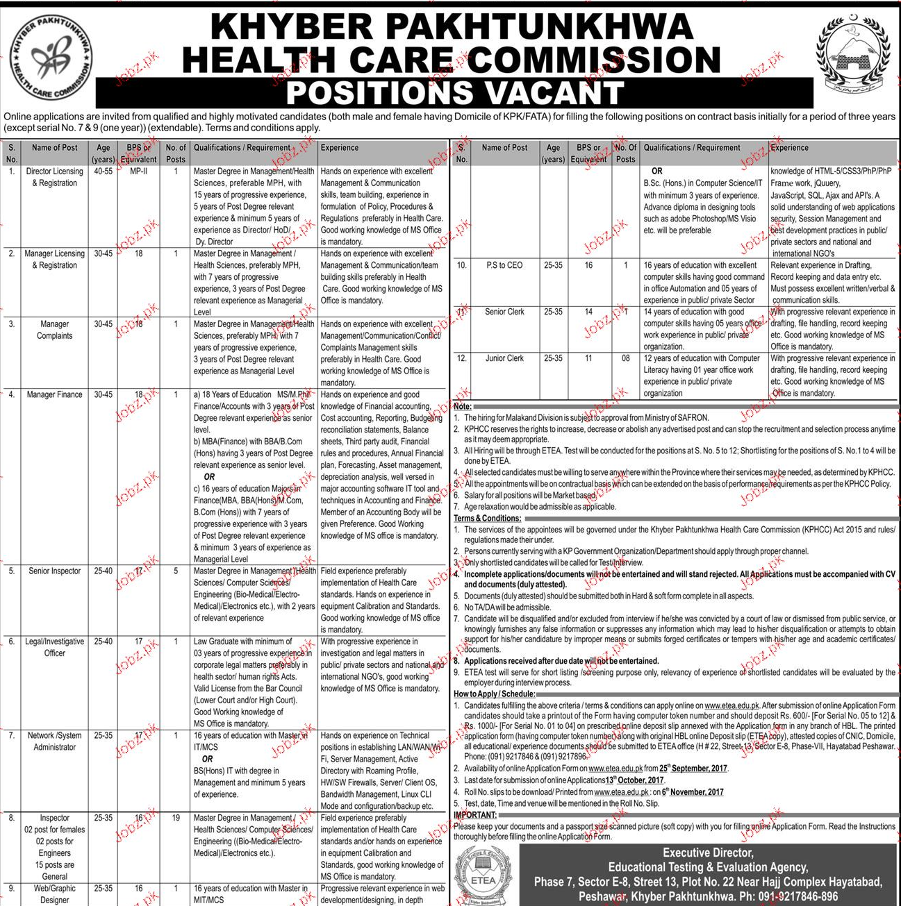 Khyber Pakhtunkhwa Health Care Commission Jobs 2017