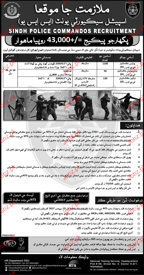 Special Security Unit SSU Sindh Police Jobs 2019 Job