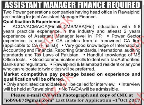 Assistant Manager Finance Required For Rawalpindi