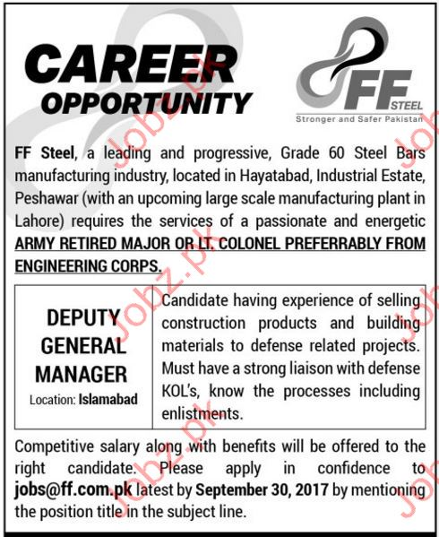 Deputy General Manager Wanted For Islamabad, Pakistan