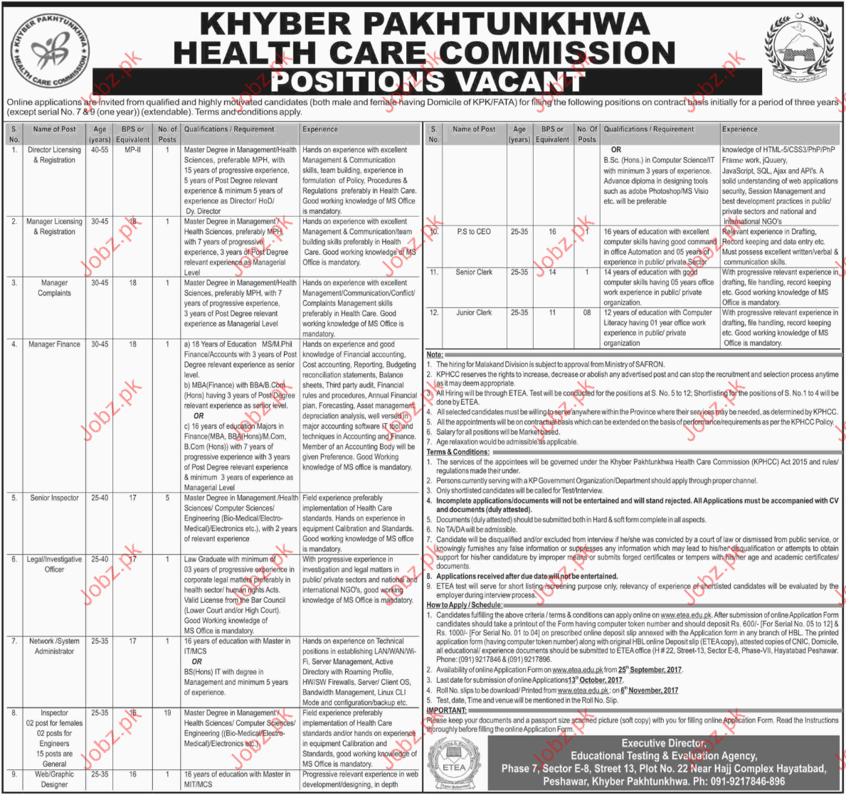 Khyber Pakhtunkhwa Health Care Commission jobs 2017