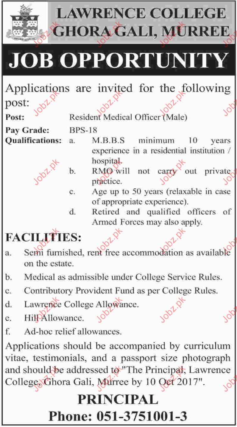 Lawrence College Ghoragali Required Resident Medical Officer